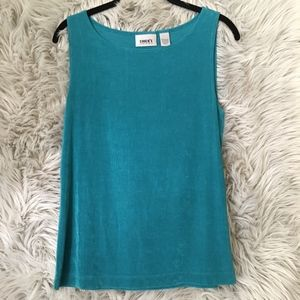 Chico's Travelers Teal Ribbed Tank